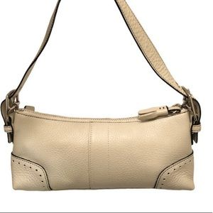 Coach pebbled leather small zipper bag baguette